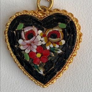 Micro mosaic heart pendant necklace - Italy